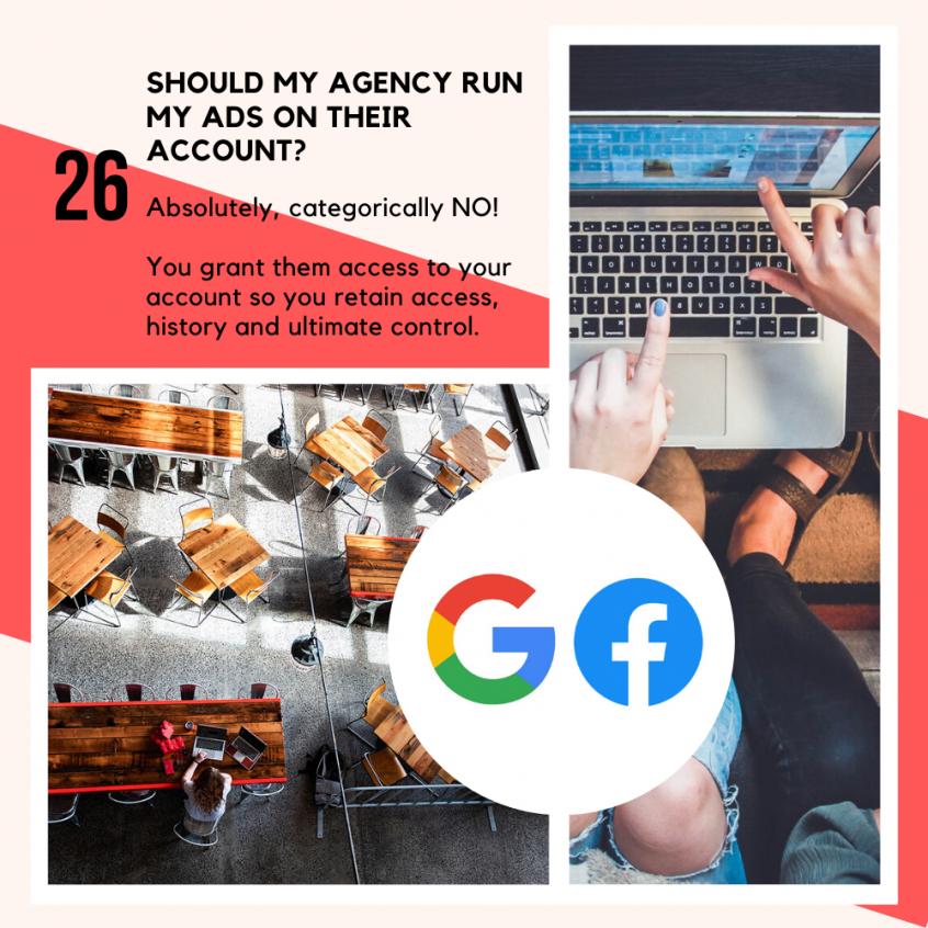 Sound my agency run my ads on their account?